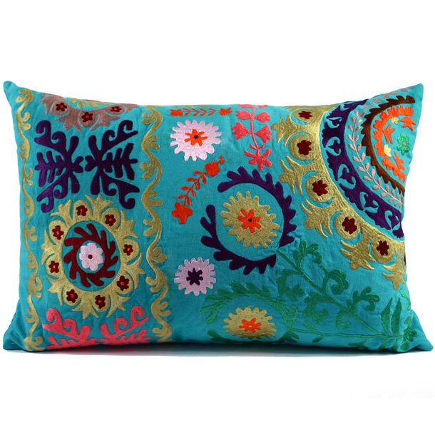 "Suzani Pillow 16"" Turquoise"