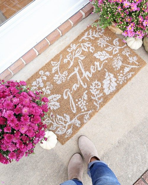 Fall doormat for front porch fall decor or fall entryway decor