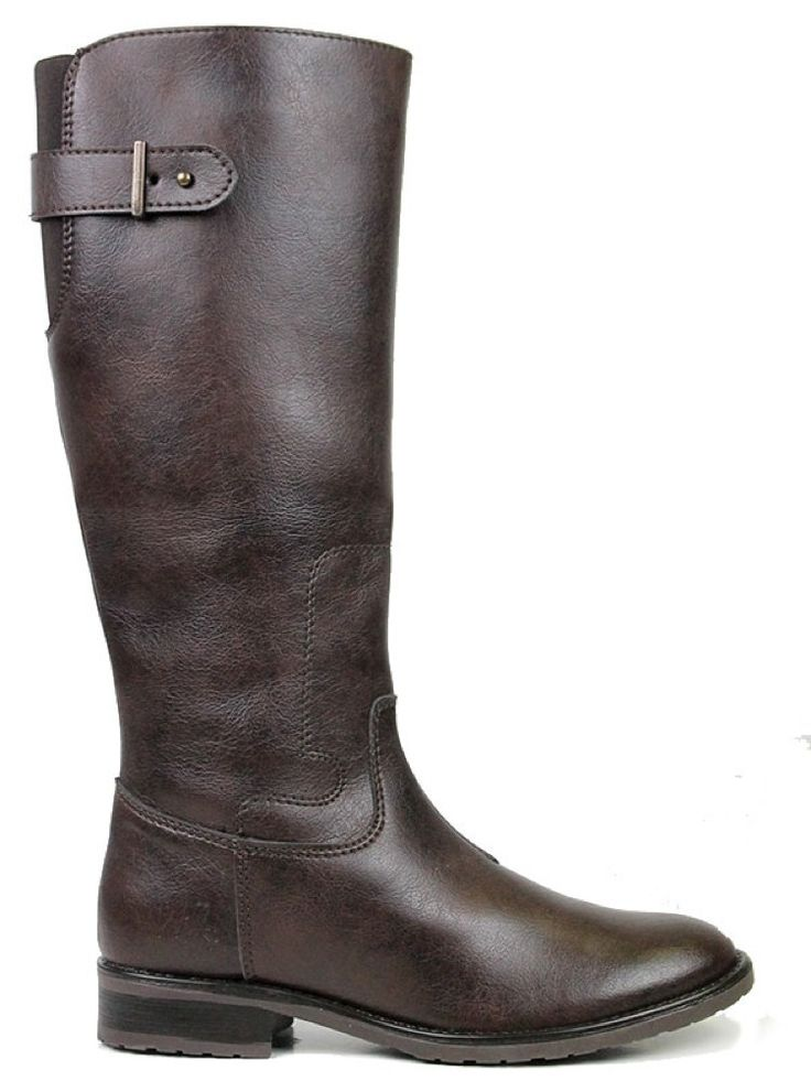Vegan Vegetarian Non-Leather Womens Riding Boots Dark Brown
