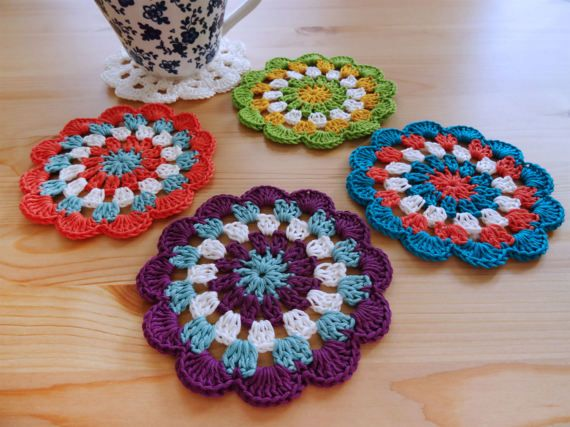 Crochet Pattern  Rainbow Coasters  PDF Pattern