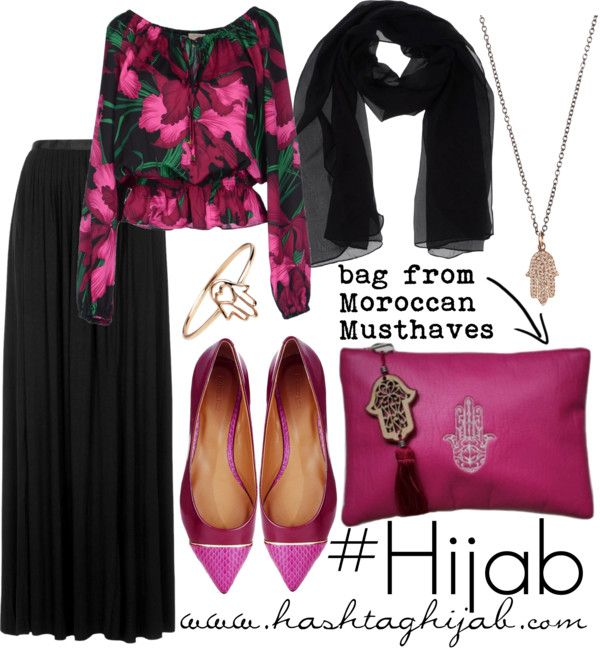 Black skirt, floral shirt, black scarf, pink flats, gold bracelet, gold necklace