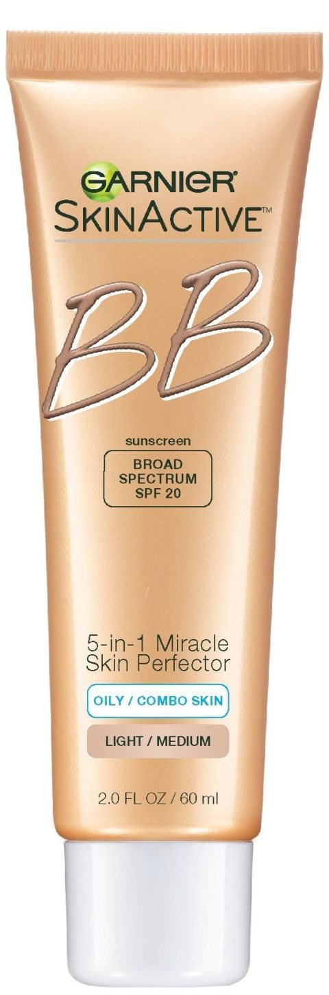 The original brand to release a mass market U.S. BB cream, Garnier's oil-free edition has perlite, a volcanic mineral powder that absorbs excess oil, as well as salicylic acid to help with acne prevention and aid in smoothing your skin. Tinted pigments help to cover unwanted imperfections. Bonus: It has a broad spectrum SPF of 20. Garnier 5-In-1 Skin Perfector BB Cream Oil-Free, $12.99; Garnier.com.