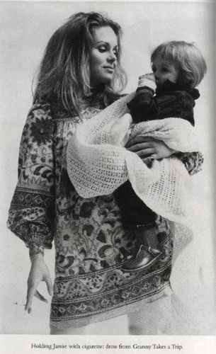 Joanna Lumley and Jamie. I want her dress! And a time machine so I can go shopping at Granny Takes A Trip.