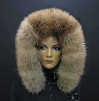 Kožešina na kapuci - krásný hustý huňatý mývalovec v přírodní barvě #fur#kozesina#FinnRaccoon