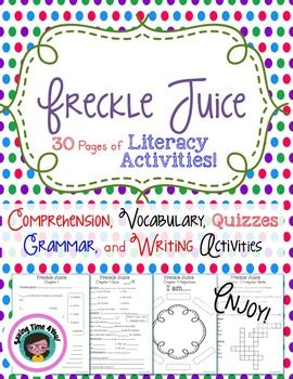 This Freckle Juice packet is CC aligned and has everything you need to accompany this beloved book! This packet includes 30 Pages of Comprehension, Writing, Grammar, and Vocabulary Activities