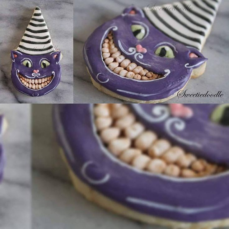 """51 Likes, 9 Comments - Sally Fraise (@sweetiedoodle) on Instagram: """"My Cheshire and vintage decoration inspired cat cookie from 2014. Love that cheeky grin!…"""""""