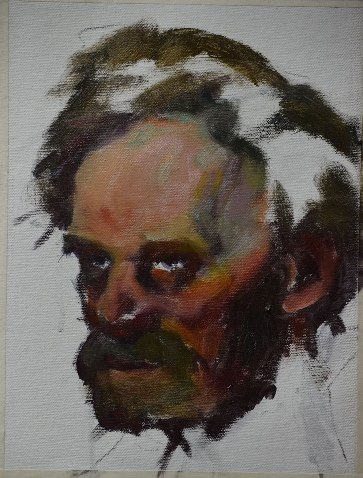 Donald Burrow. Underpainting stage in master study of Academic Keeper Emimof, Ilya Repin.