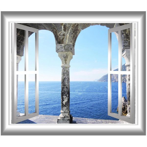 Mediterranean Ocean 3D Window Frame Wall Decal Greece Ocean View Wall... ($15) ❤ liked on Polyvore featuring home, home decor, wall art, peel and stick wall stickers, peel and stick decals, graphic decals, greek wall art and ocean wall decals