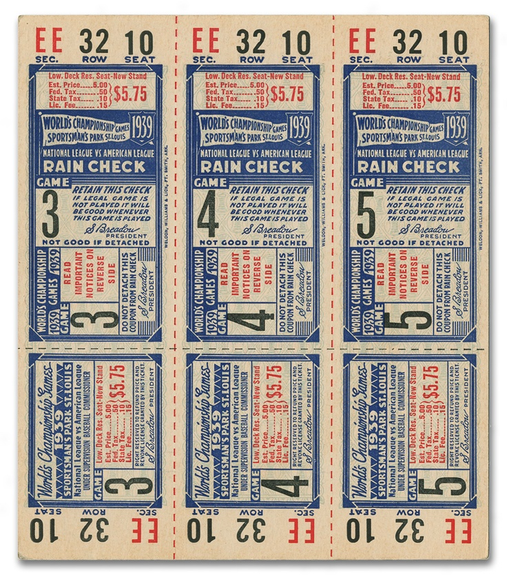 1939 St. Louis Cardinals Phantom World Series Tickets
