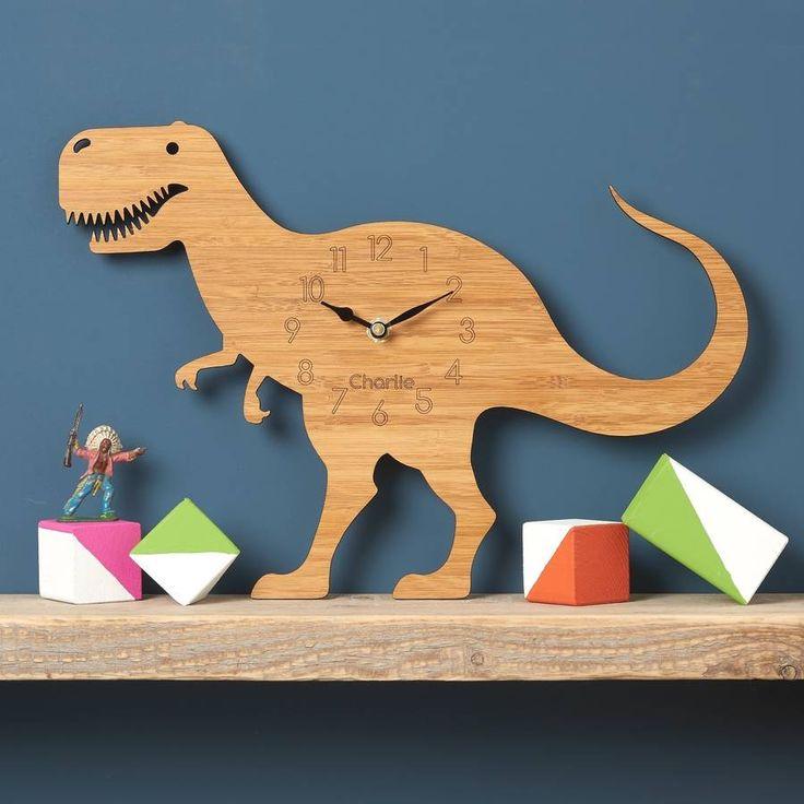 t rex children's dinosaur clock by owl & otter | notonthehighstreet.com