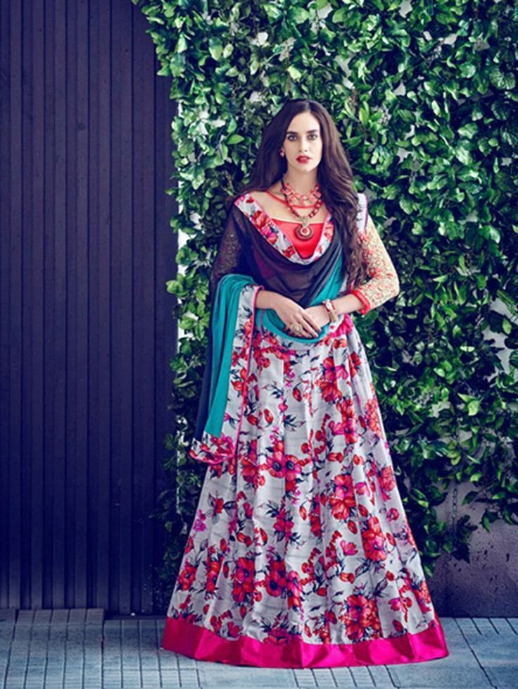 Buy Green Bangalore Silk Printed Lehenga Choli Online at Best Price for Women - CCAA1857 - Saree.com