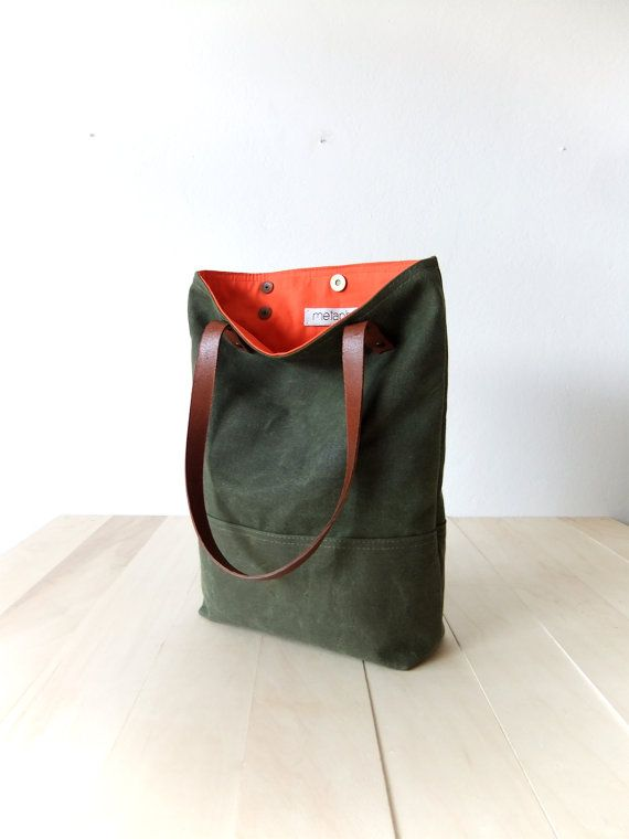 Waxed Canvas Tote in Military Green Brown Leather Straps Handmade Shoulder Bag Orange Lining Tote Bag $89.00