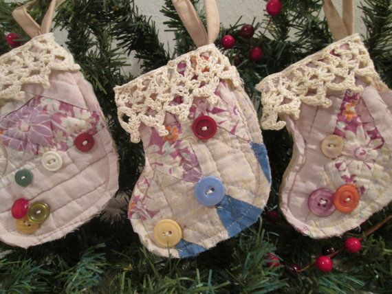Quilt Christmas Stocking...Christmas Ornament, Vintage Quilt, Primitive Stocking, Christmas Decor, Holiday Decoration, Country Ornament 1054