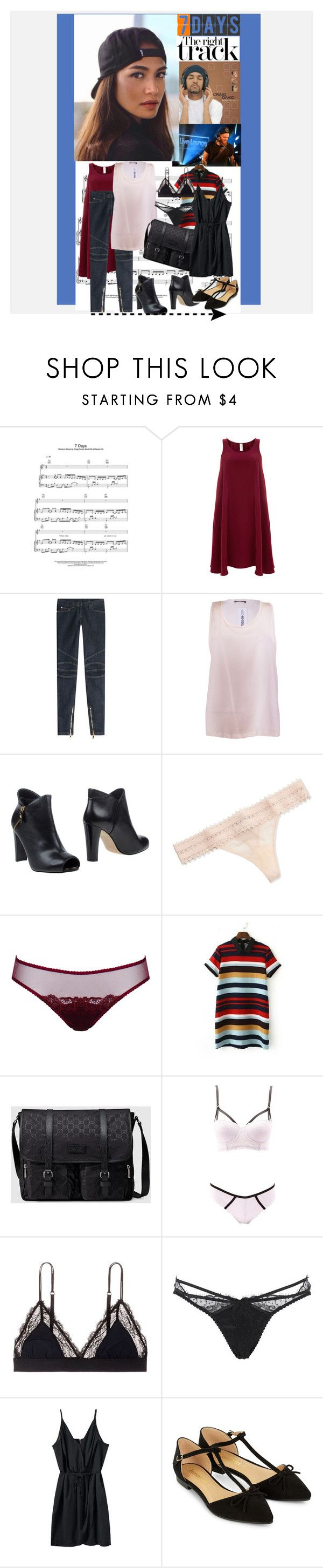 """""""7 Days by Craig David Covered by Jack Garratt in  the BBC Live Lounge"""" by bklou ❤ liked on Polyvore featuring Finery London, Balmain, Stuart Weitzman, La Perla, Derriére, Gucci, Charlotte Russe, LoveStories, Agent Provocateur and WithChic"""