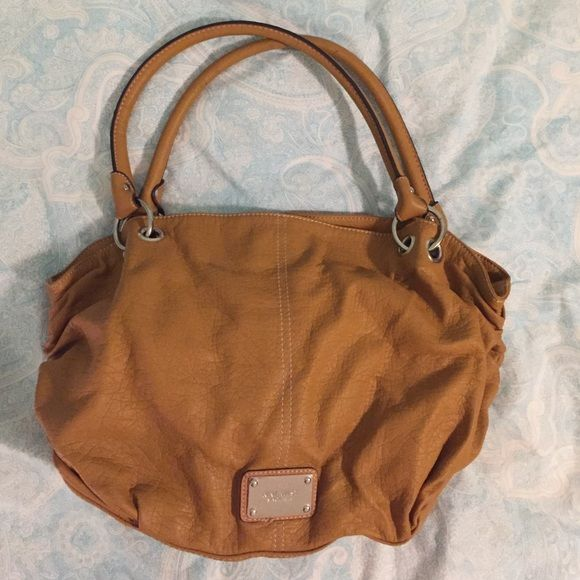 ‼️Final Clearance!‼️ Gorgeous Nine West purse ✨Gorgeous caramel colored Nine West purse in excellent condition! Hardly ever used...needs a forever home! Soft leather-like material on outside with cream fabric inside. Pretty rouching on both sides of purse. Very, very roomy! Make this your newest addition today!  price is firm. Nine West Bags Shoulder Bags
