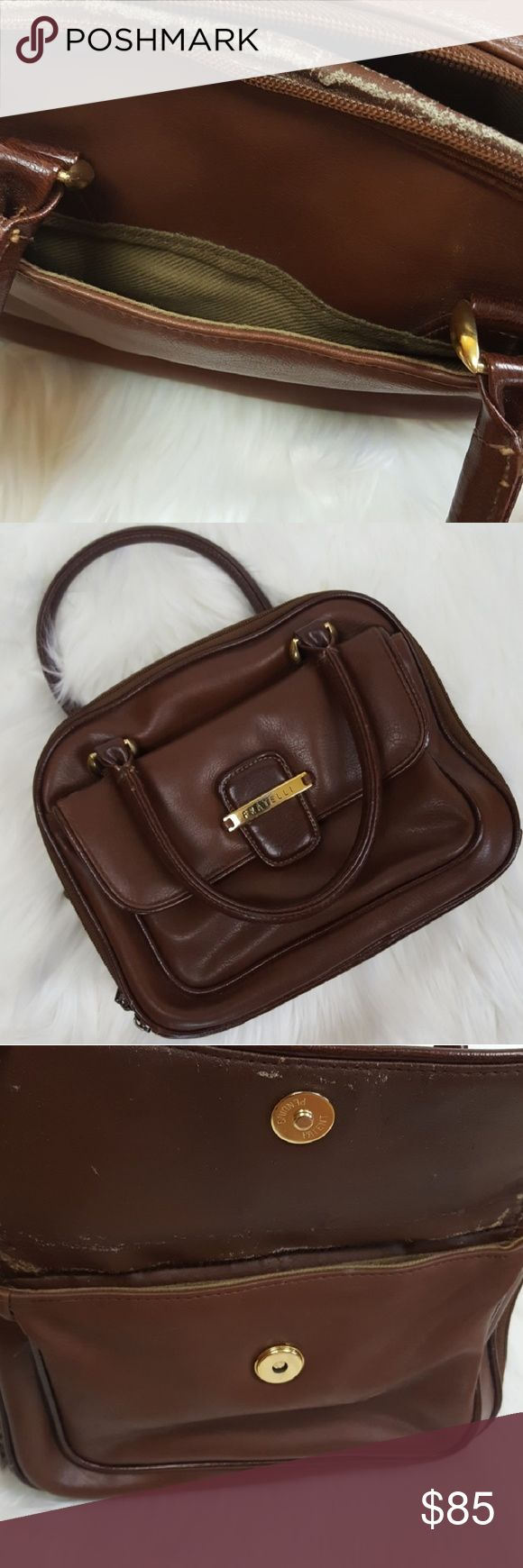 """Vintage FRATELLI Mini Small Brown Gold Handbag A beautiful vintage and well-aged brown handbag by FRATELLI.  • Has Gold tone accents. • 2 zipper compartments. • 1 compartment has the cutest organizer with tabs labeled: Check Book, Credit Card Cash, Coupons Receipts, Agenda, Cosmetics. • The outside is in great condition. However, the inside is a bit scuffed but not noticeable while wearing. I think it adds a wonderful vintage look to it!  • Strap Drop 6"""". • 10""""L x 4""""W x 8""""H.  • A wonderful…"""