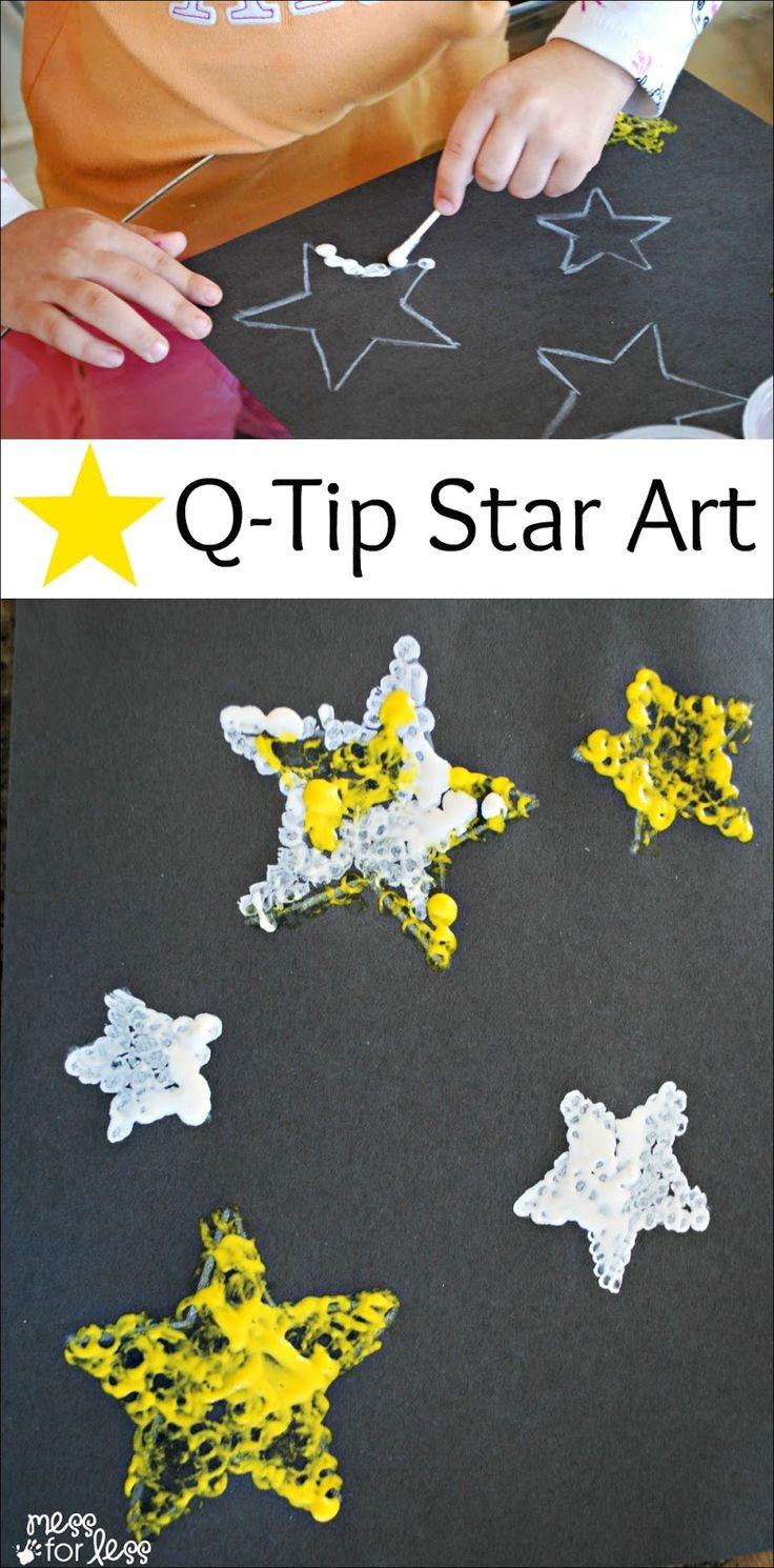 Kids Art Project - Q-Tip Star Art: A creative way for kids to paint with a q-tip. This also provides a fun fine motor experience for kids. What a fun way to paint!