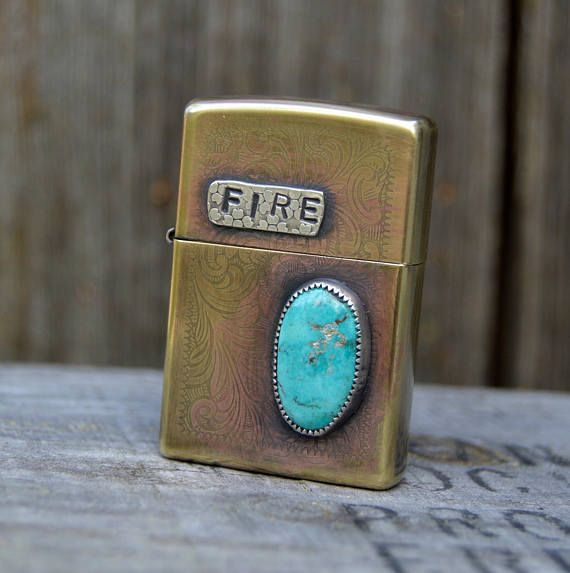 Turquoise Brass Zippo Lighter . Fire . Sterling . USA Mined