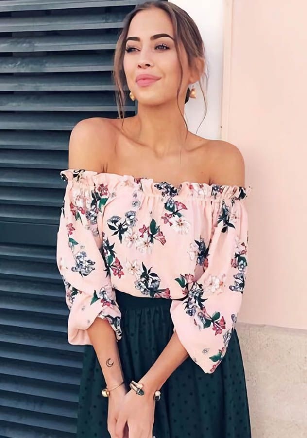 Pink Chiffon Off Shoulder Floral Printed Top Long Sleeves Blouse,Flat shoulder clothes always give a person sense of beauty,so same as this Pink Chiffon Off Shoulder Floral Printed Top Long Sleeves Blouse.