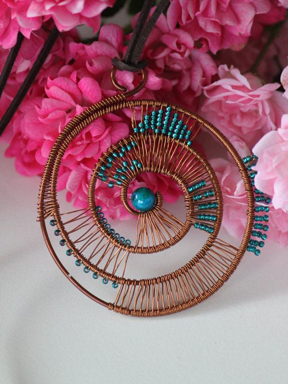 Copper wire wrapped turquoise helix pendant. by DeaJewelryStore