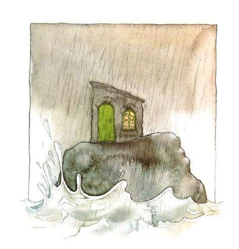 (Het huis op de rots - prent 5:) En zo gebeurt ... Het regent dat het giet, het dondert en het bliksemt. Het water bonkt tegen de rots.