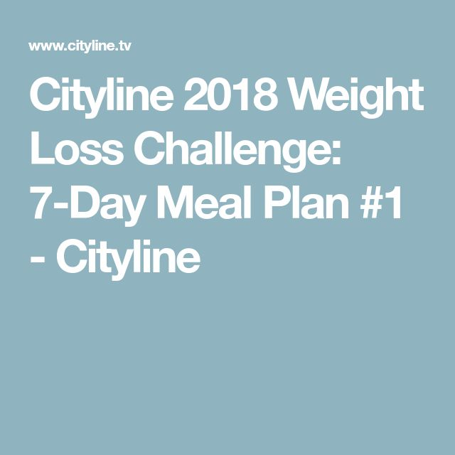 Cityline 2018 Weight Loss Challenge: 7-Day Meal Plan #1 - Cityline