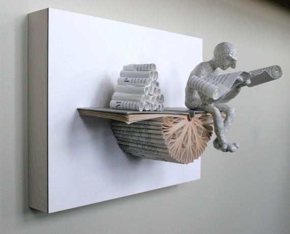 Lecteur avec rouleaux sur Claybord Sculpture originale par Kenjio