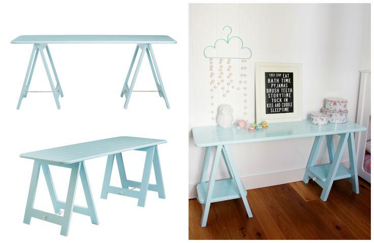 Cheeky Boy Blue trestle table by Plank and Trestle - www.plankandtrestle.com.au