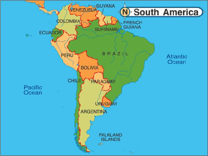 Map America | South America Map   Detailed On Line Map Of South America