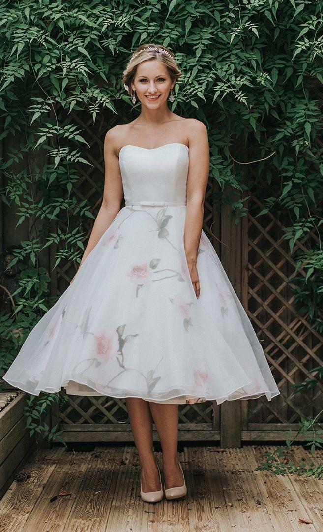 Tea Length Wedding Dress R1039 White Rose