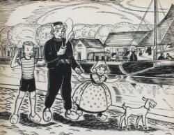 illustratie van boer met pijp, jongetje en boerinnetje met op de achtergrond boot, uit het boek: Wilhelmina's wish van Eleanore Hubbard Wilson