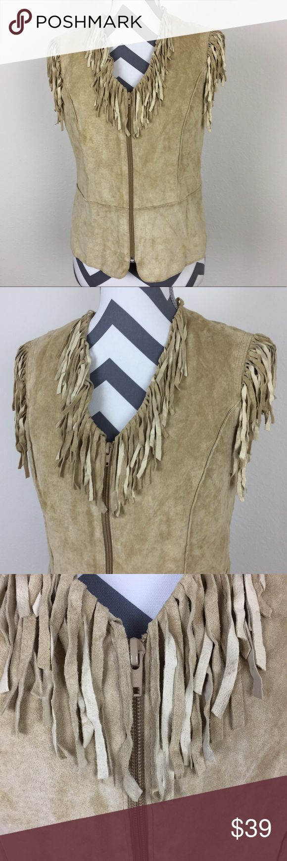 Revue Tan Suede Leather Fringe  Boho Vest Size 4 Perfect for festivals and summer events! Boho / hippy chic fringe suede leather vest. Zips up the front. Size 4. Revue Jackets & Coats Vests