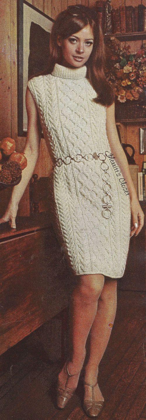 Aran Knit Dress Size 10  18 Vintage Knitting by MerrittsCloset, $2.50