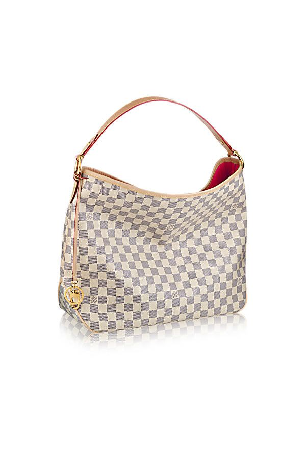 Delightful handbag in Damier Azur from Louis Vuitton #luxurybrands, red carpet, fashion week, #luxuryliving, glamorous style, limited edition Discover more luxury inspirations at http://www.bocadolobo.com/en/inspiration-and-ideas/