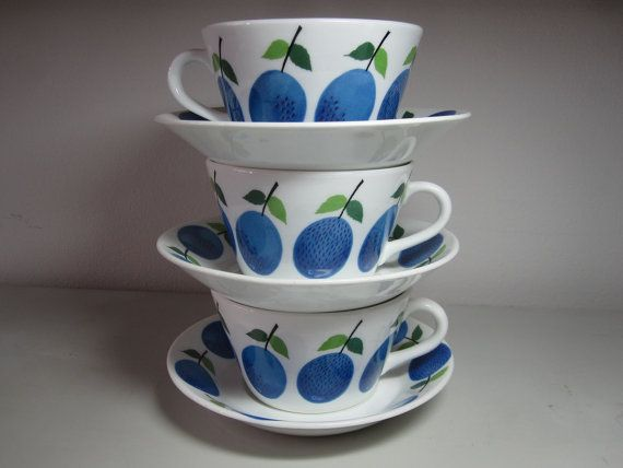 Gustavsberg Sweden Prunus Tea Cup with Saucer by vivienvintage