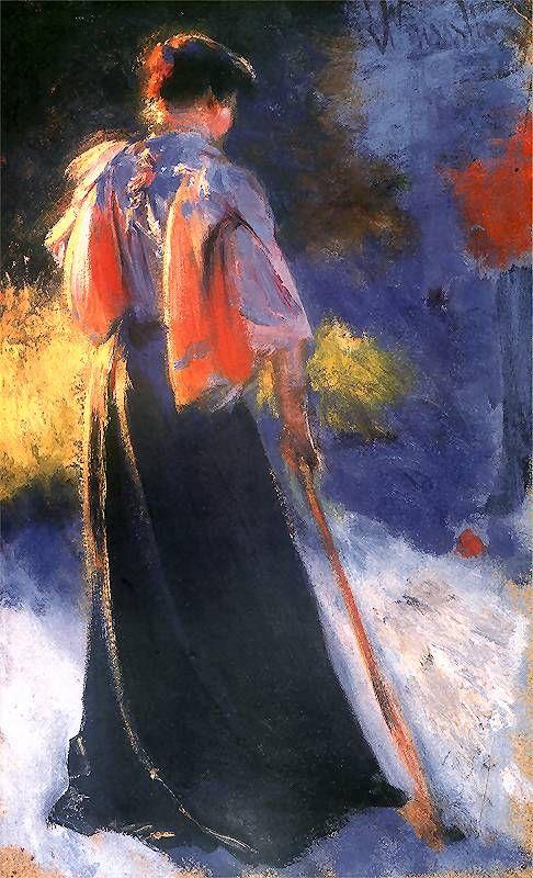 """Leon Wyczółkowski, """"Gry w krokieta (Girl with croquet)"""", 1892"""