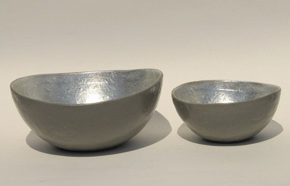 Bowl paper mache chelsea gray with silver leaf