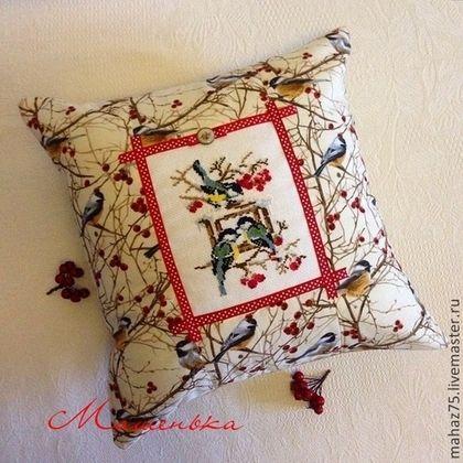 Подушка Синички.. - бежевый,синички,подушка декоративная,подушка на диван