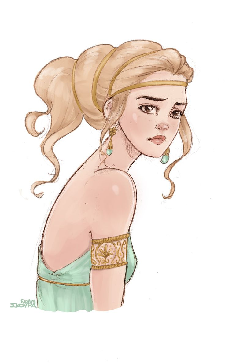 Hermione was the daughter of King Menelaus and Helen of Troy (or, as she is called in Greek: Helen the beautiful).  / also found at: http://ninidu.deviantart.com/art/Hermione-554635173