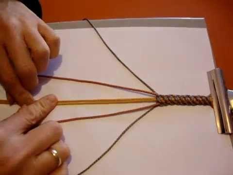 Trenzado de nudos cruzados, con 6 cordones de 3 colores.Ver tutorial en el enlace http://creacionesbatiburrillo.blogspot.com.es/2015/01/pulsera-nudos-cruzado...