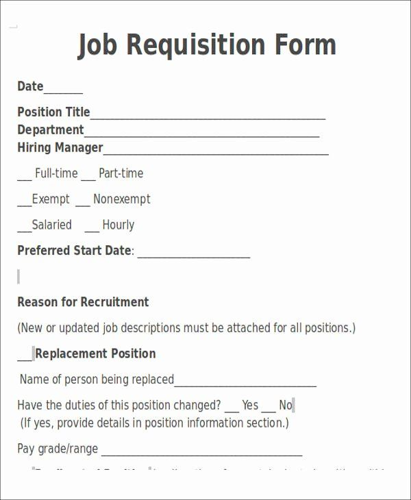 Job Requisition Form Template 2020 Letter Template Word