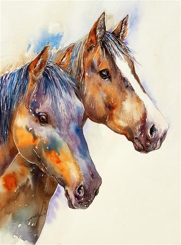 "Daily Paintworks - ""Sam and Joe"" - Original Fine Art for Sale - © Arti Chauhan"