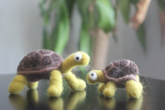 Made-To-Order Needle Felted Baby Sea Turtle and Mama - Green and Brown.