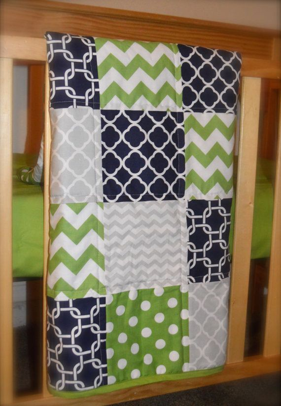 Baby Boy Quilt Modern Navy Blue Lime Green And Grey