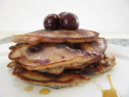 Cherry- Almond Pancakes (GF, Dairy-Free, Grain-Free, Refined Sugar-Free)    Ingredients    1 Cup Blanched Almond Meal (such as Honeyville)  3 Large Organic Eggs  2 TBS Oil (I suggest Grapeseed or Coconut Oil)  2  TBS Water  2 1/2 TBS Granulated Sugar (refined or unrefined)  1 Tsp. Almond Extract  1 Tsp. Vanilla Extract  1/4 Tsp. Salt  3/4 Cup Pitted & Chopped Cherries (frozen or fresh)