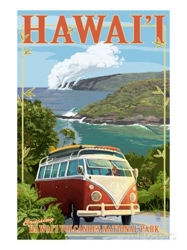 VW Van - Hawaii Volcanoes National Park Affiches par Lantern Press sur AllPosters.fr
