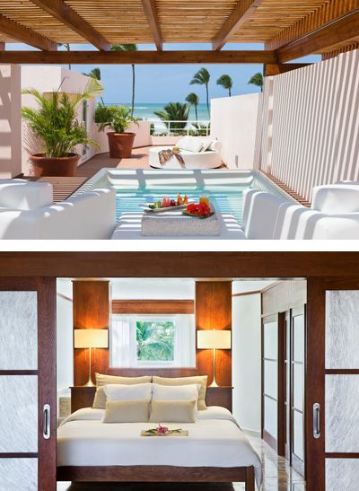 Habitación #Mar #jacuzzi en el #dormitorio del # Hotel La LLosa de
