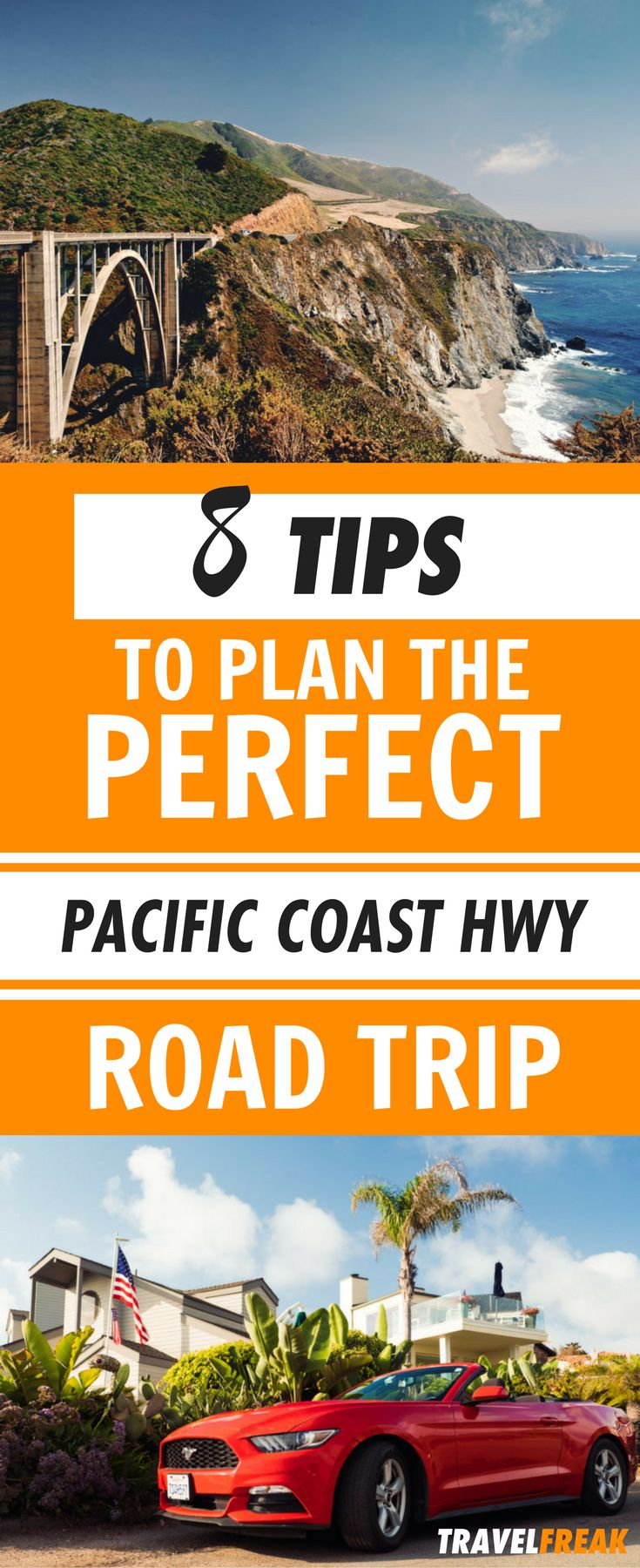 A Pacific Coast Highway road trip is the ultimate experience for those seeking adventure. Read this article for everything you need to know to plan your road trip to the Pacific Coast Highway.  It includes 8 useful tips to be prepared for your road trip! Ready to feel the wanderlust? Pacific Coast Highway Photography | Pacific Coast Highway Map| Pacific Coast Highway Stops #SantaMonica #Malibu #PacificCoastHighway via @travelfreak_