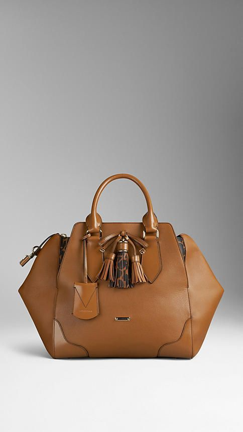 Animal Print Detail Leather Tote Bag | Burberry £1150