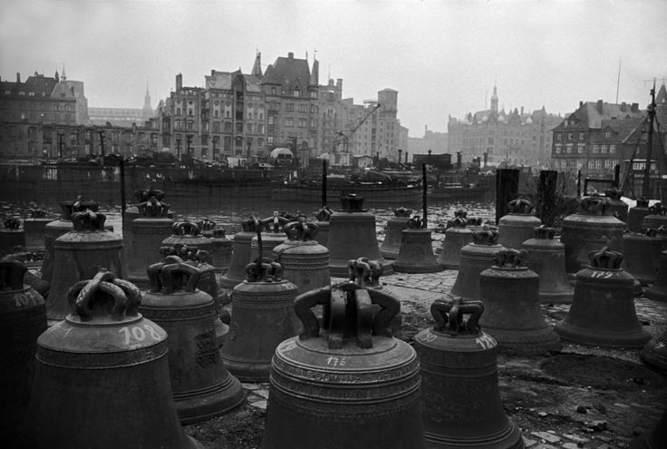 "Erich Lessing - Hamburg. Church bells which had been collected to be melted down for the ""ultimate war-effort"", but never used. 1951."